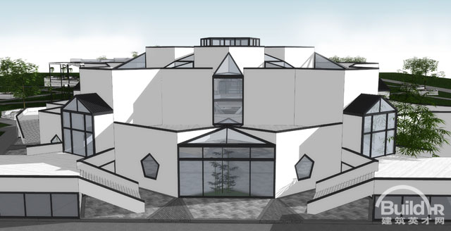 建筑主体是以一个简单的五边形几何体块重复拼合以中心发散的形式对称