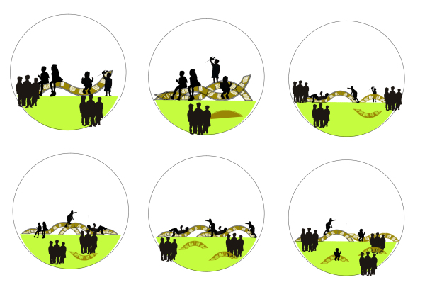 >  2013年作品展(全) > 作品名称:露天漂流图书站     该设计采用波浪