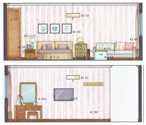卧室立面图室内卧室立面图 卧室设计手绘立面图图片