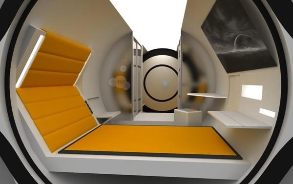 """9公里""""太空科幻主题酒店设计     其形式来源与太空舱及传统的胶囊"""