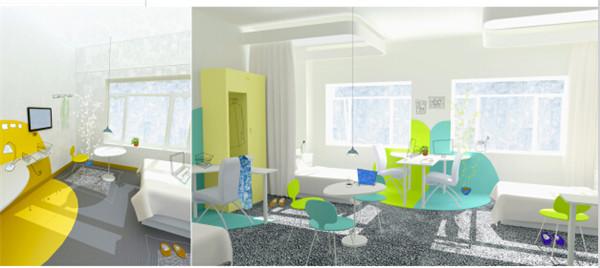 作品名称:医疗康复空间室内外环境设计 指导教师:宋立民 设计说明:   本设计是针对慢性精神病患者的医疗康复空间室内外环境设计。 首先,根据慢性精神病患者治疗时间较长,各个阶段对于治疗需求差异较大的特点,在设计中将空间划分为康复区、家庭式疗养区和社会式疗养区,训练患者生活、学习和就业的技能。在户外设置绿地,为患者、医护人员和探访者提供放松的去处,同时为以园艺为基础的康复训练提供场地。   其次,不同的区域都需要从空间入手进行设计,体现出各个区域的独特性。康复区的个人空间与公共空间划分明确,训练患者对于简单